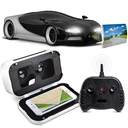 SHARPER IMAGE Toy RC Italia Sports Car 1:16 Scale Luxury Cars-Inspired Design with Virtual Reality Camera, Headset, and FPV Viewer, LED Headlights & Brakelights, Silver and Black, 2.4 GHz