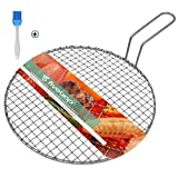 Fivebop Multi-Purpose Stainless Steel Cross Wire Round Steaming Cooling Barbecue Racks/Carbon Baking Net/Grills/Pan Grate with Long Handle