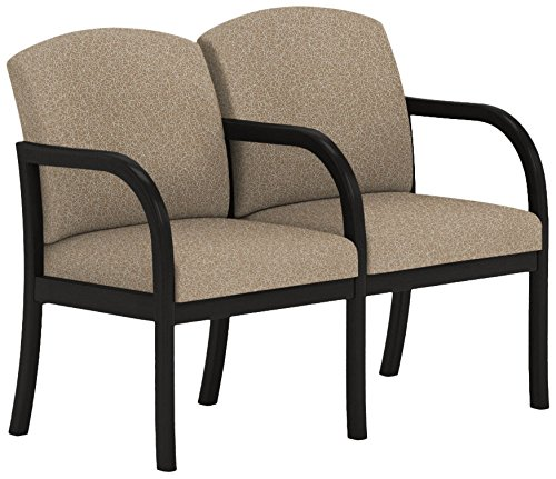 Lesro Weston W2303G5BVTERR 2 Seats Sofa with Center Arm in Black Finish, Tendril River Rock
