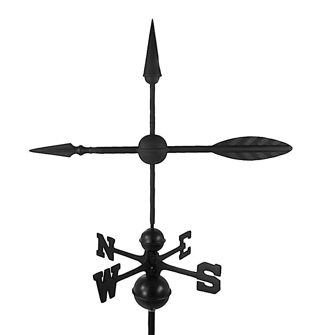 Dalvento 207B Arrow Weathervane Aluminum with Traditional Directionals and Globes, Large Black