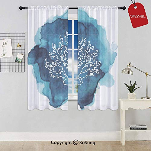 (Watercolor Stain Dot with Coral Icon Artistic Sea Inspired Design Decorative Rod Pocket Sheer Voile Window Curtain Panels for Kids Room,Kitchen,Living Room & Bedroom,2 Panels,Each 42x45 Inch,Light Bl)