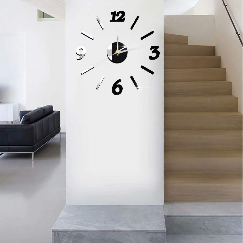 Wall Clocks Bathroom Florlife Mirror Wall Clock Decal 3d Frameless Diy Clock Oversized Rustic Wall Clocks Kitchen Wall Stickers With Numbers For Kids Bedroom Outdoor Dining Room Office Home