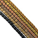 Metallic Matte Mix 6mm Square Czech Czechmate Glass Two Hole Tile Bead Approx 150