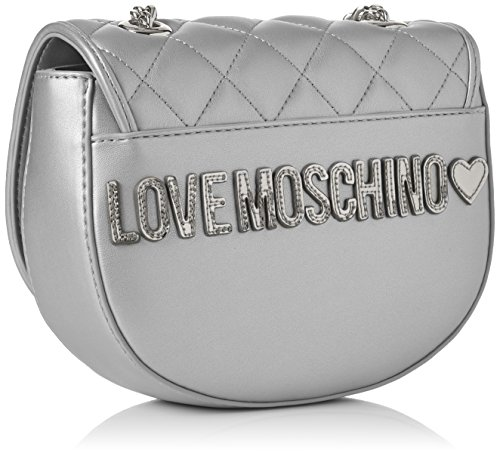 Plateado Bolsos Silver T Pu Borsa cm Quilted Moschino H Mujer Argento B baguette Love 6x16x20 Metallic x WYqznaH