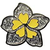 Glittery Silver Plumeria Ball Marker with Magnetic Hat Clip