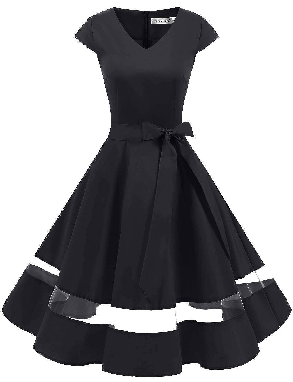 Amazon.com: Gardenwed Women's 1950s Rockabilly Cocktail Party Dress Retro  Vintage Swing Dress Cap-Sleeve V Neck: Clothing