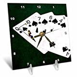 3dRose Alexis Photo-Art - Poker Hands - Poker Hands Flush Clubs - 6x6 Desk Clock (dc_270313_1)