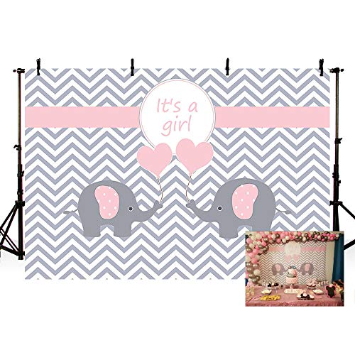 MEHOFOTO Cute Pink Princess Girl Baby Shower Banner Grey White Wave Photo Studio Backgrounds Elephant Love Party Backdrops Props for Photography -