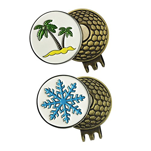 Snowflakes Ball (2 Sets of Golf Ball Marker with Magnetic Golf Hat Clip (PALM TREE and SNOWFLAKE))