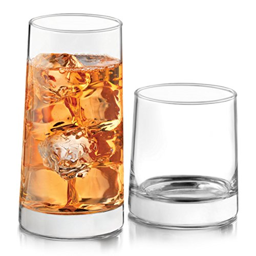 Libbey 56047 Cabos 16-Piece Glass Drinkware Set Combination 8-15.8 Ounce Drinking 8-10.8 Ounce Rocks Lead-Free, 15.8 oz, Clear by Libbey