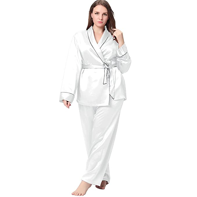 Lilysilk 22 Momme Conjunto de Pijamas Seda en Tallas Grandes Contraste Ajuste Seda Blanco XXL