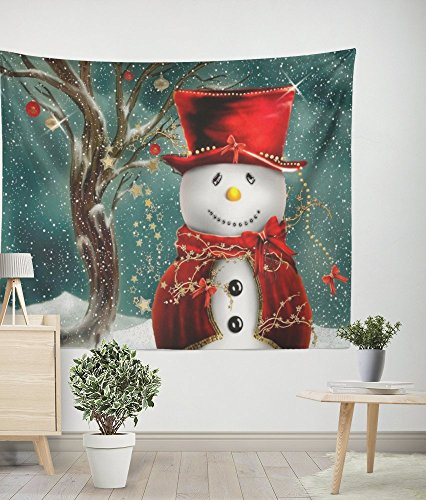 Snowman Merry Christmas Wall Hanging Tapestry Fabric Bedroom Living Room Dorm Decor Easy To Clean 59x51Inch ()