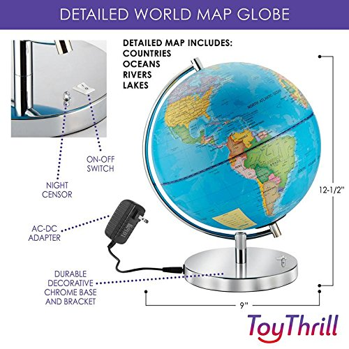 """LED Light Up Globe with Bluetooth Speaker, Chrome Base and Detailed World Map - Constellations Glow at Night – Projects Star Lights on Ceiling as Nightlight - 12.5 x 9"""" - by ToyThrill Photo #5"""