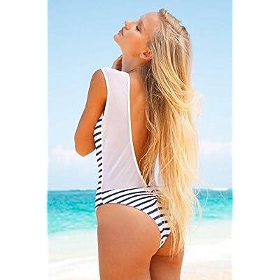 Douche de plage en plein air maillot de _ split élégant maillot rayé de fils de la plage extérieur douche spa piscine