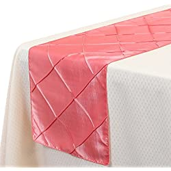 VEEYOO 1 Piece 12x108 Inch Pintuck Taffeta Table Runner Cloth Cover Wedding Decoration, Coral