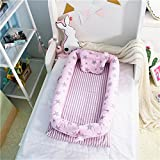 Abreeze Baby Bassinet for Bed -Stars Pink Baby Lounger - Breathable & Hypoallergenic Co-Sleeping Baby Bed - 100% Cotton Portable Crib for Bedroom/Travel