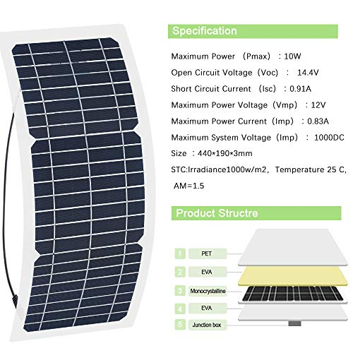 XINPUGUANG 10W 12V Flexible Solar Panel Monocrystalline Photovoltaic PV Module with DC Alligator Clip Cable for RV Boat Cabin Tent Car Trucks Trailers by XINPUGUANG (Image #4)