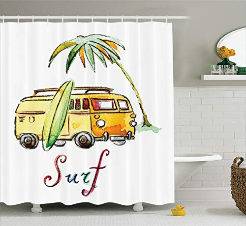 Ambesonne Surfboard Decor Collection, Hand Drawn Surfing Car Summertime Seaside Traveling Vehicle Palm Tree Vacation Road Image, Polyester Fabric Bathroom Shower Curtain, 75 Inches Long, -