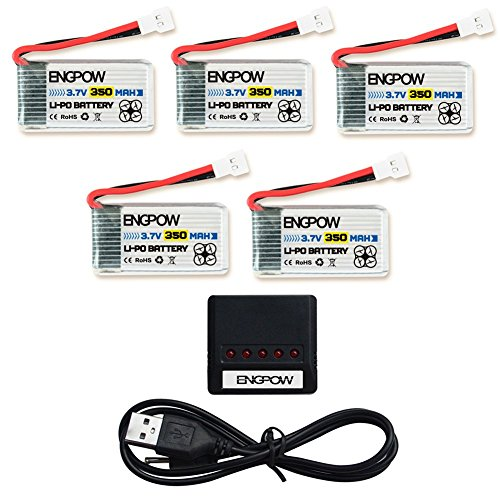 ENGPOW 3.7v 350mAh RC Drone Lipo Battery with X5 Charger Compatible with Q2020 Walkera Super CP Genius MINI Quadcopter…