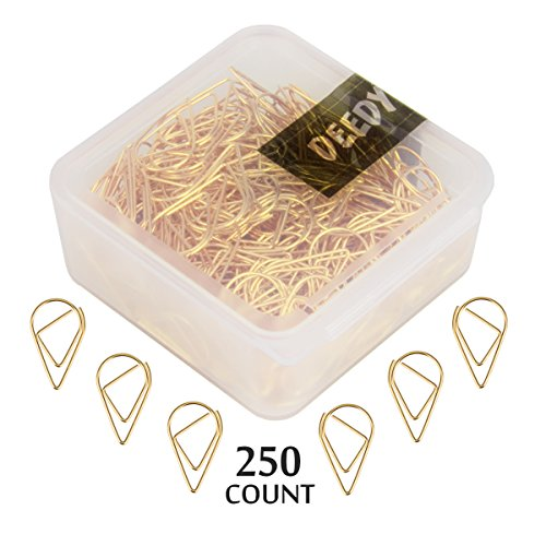 DeedyGo 250 Premium Cute Paper Clips Gold Stainless Stell Wire Paper Clips in Durable Box Holder for Office Supplies Women Girls Kids (1 inch)