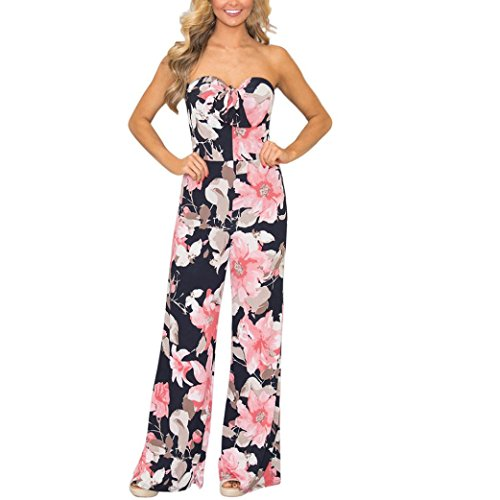 Bravetoshop Jumpsuits,Clearance Sexy Bra Rompers Halter Floral Print Overall Bra Playsuits (Pink, S)