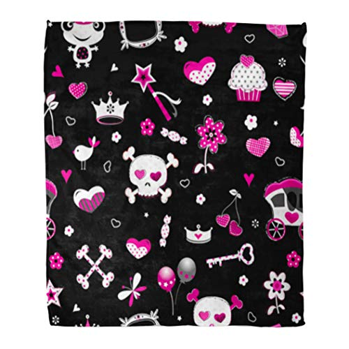 Golee Throw Blanket Girly Aggressive in Black Pink and Red Pattern Skull Candy 50x60 Inches Warm Fuzzy Soft Blanket for Bed Sofa ()