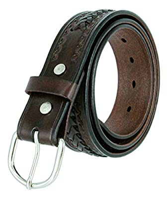 Western Scorpion X Hand Woven Genuine Leather Belt 1-1/2 Wide