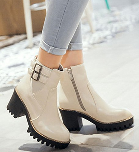 IDIFU Womens Elegant Two Buckles Side Zip Up Ankle Boots High Chunky Heels Platform Booties Beige F1AJUdkCW