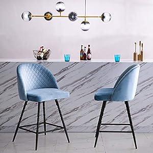 Yongqiang-Velvet-Bar-Stools-Set-of-2-Swivel-Upholstered-Counter-Height-Barstools-Bar-Chair-26-inch-Blue