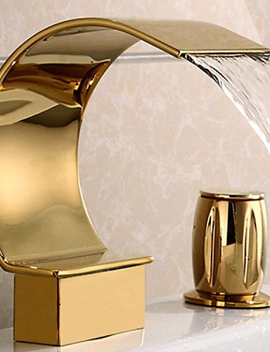 ZQ Personality Fashion Style Luxury 3 Pieces Widespread Basin Waterfall Faucet Tap Gold Finish