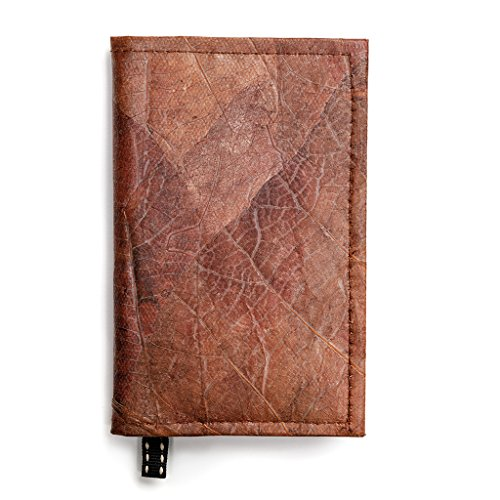 (Leaf Leather Notebook Refillable Nature Journal with Page Marker - Handmade - Brown)