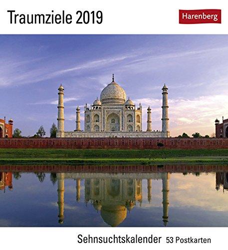 Postkartenkalender mit 53 heraustrennbaren Postkarten Harenberg-Verlag Kalender 2019 16 cm x 17,5 cm Traumziele Sehnsuchtskalender