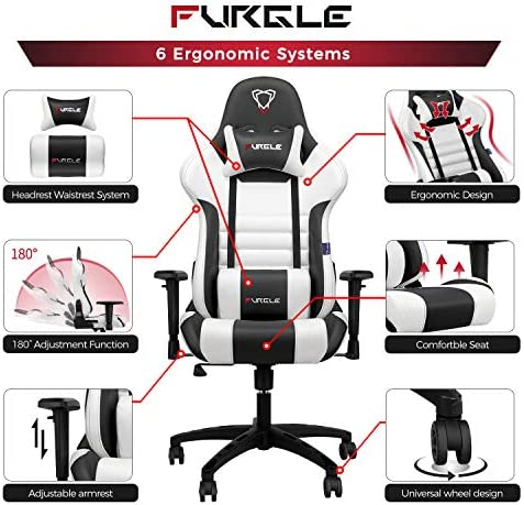 【New Update】 Furgle Gaming Chair Racing Style High-Back Office Chair w/PU Leather and Adjustable Armrests Executive Ergonomic Swivel Video Game Chairs with Rocking Mode & Headrest and Lumbar Support 51nEg7L3X L