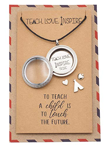 Quan Jewelry Teacher Locket Necklace with Teepee, Heart, Apple, and Arrow Charms, Teacher Gifts, Gifts for Teacher with Inspirational Greeting Card -