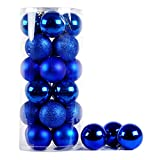 Multi-color Shiny & Matte Shatterproof Christmas Trees Pendant Christmas Ball Ornament Set - 24 Pieces (Royal Blue, 8cm(3.15''))
