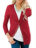 Shineya Women Casual Long Sleeve Cardigan V Neck Button Down Sweater Red US8-10