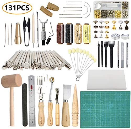 Leather Working Tools SIMPZIA 131PCS Leathercraft Tools20PCS Leather Stamping Tools Cutting Mat Stitching Groover Prong Punch Snaps and Rivets Kit Leather Tooling Kit for DIY Leather Craft