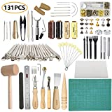 Leather Working Tools SIMPZIA 131PCS Leathercraft Tools with 20PCS Leather Stamping Tools, Cutting Mat, Snaps and Rivets Kit, Leather Tooling Kit for DIY Leather Craft