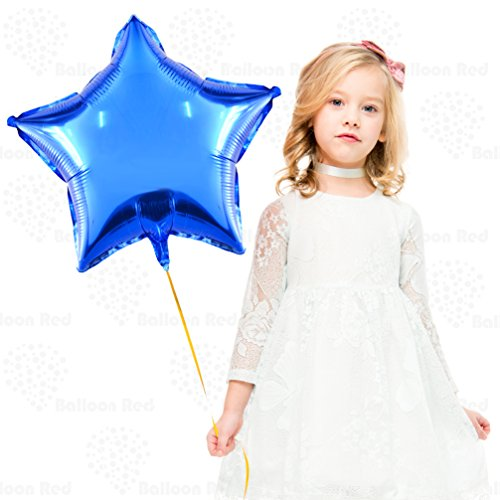 18 Inch Helium Foil Mylar Balloons (Premium Quality), Pack of 12, Star - Blue