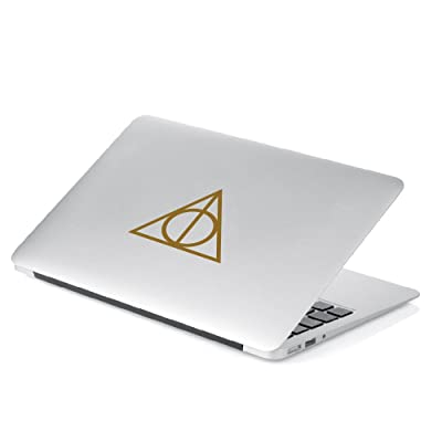 "Yoonek Graphics Deathly Hallows Inspired Harry Potter 5"" Height Decal Sticker for Car Window, Laptop, Motorcycle, Walls, Mirror and More. SKU: 467 (Metallic Gold): Automotive"
