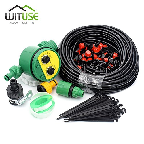 30m Plant Bonsai Automatic Micro Drip Irrigation System Hose+Watering Timer