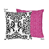 Sweet Jojo Designs Hot Pink, Black and White Isabella Decorative Accent Throw Pillow