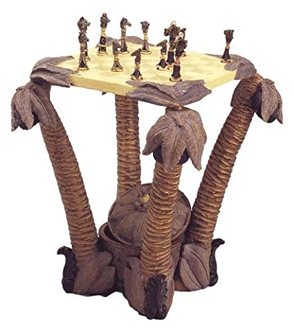 Amazon.com: Palm Tree Chess Table With Animal Figurine Chess Pieces (My  House Of Gifts): Toys U0026 Games