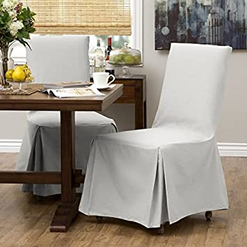 2 Piece White Parsons Chair Slipcover, Form Fitting Style, Solid Pattern,  Pure Duck