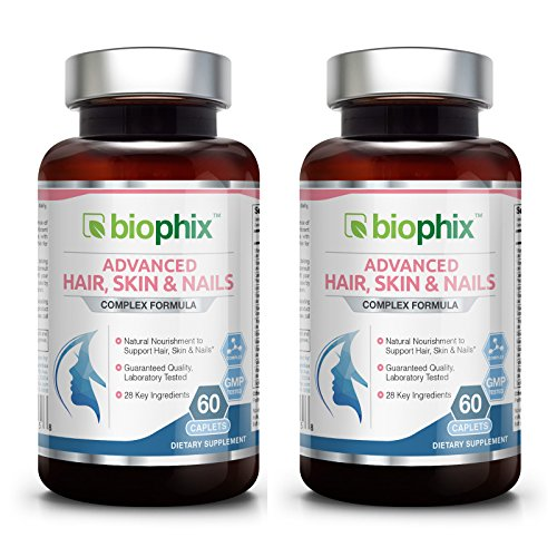 Cheap *Flash Sale* Advanced Hair Skin and Nails Complex Formula 60 Caplets 2 Pack Expires 08-2018 – Strong Nails | Beautiful Hair | Healthy Anti-Aging | Multivitamin with 28 Key Ingredients