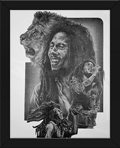 Bob Marley Lion Original Sketch Prints – FRAMED – Black  White – Features Bob Marley and the Great Lion. Print of Highly-Detailed, Handmade Drawing B…
