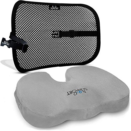 Back Support Seat Cushion Set - Lumbar Support Memory Foam with Orthopedic Design - Sciatica, Spinal Stenosis Pain Relief - Tailbone Cushion for Office, Car KitchenChairs - Mesh Breathable Material