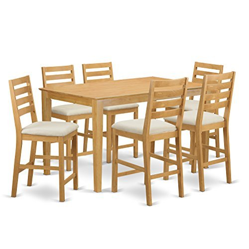 East West Furniture CACF7H-OAK-C 7 Pc Counter Height Set-Pub Table and 6 bar stools with Backs