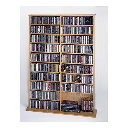 Leslie Dame High Capacity Oak Veneer Multimedia Storage Rack, Oak by Leslie Dame