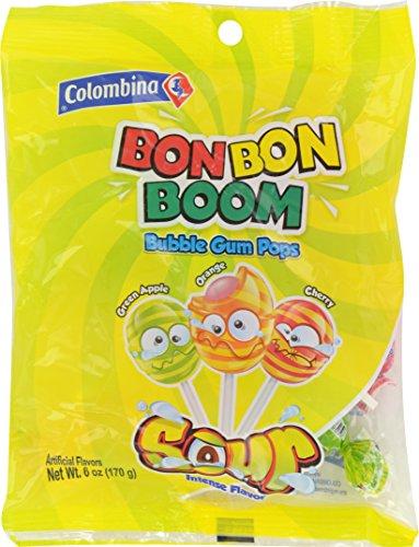 Colombina Bon Bon Bum Bubble Gum Pops Sour 6oz (Pack of 12)